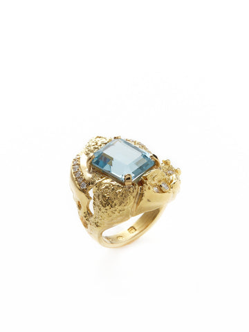 Blue Snow Diamond Ring