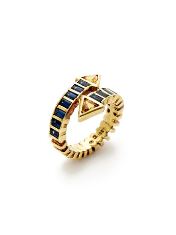 Blue Yellow Sapphire Arrow Ring