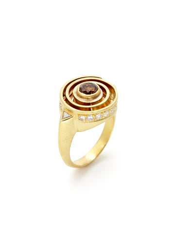Brown White Diamond Spiral Ring