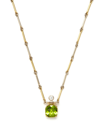 Checkerboard Peridot Perfume Necklace