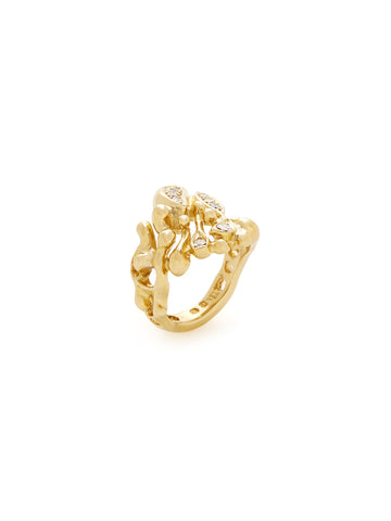 Diamond 18K Yellow Gold Drizzle Ring