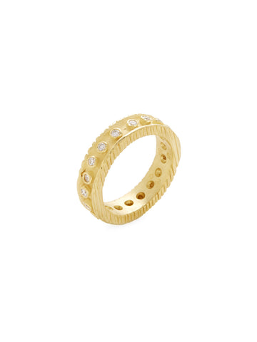 Diamond 18K Yellow Gold Etched Band