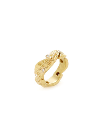 Diamond 18K Yellow Gold Leaf Band
