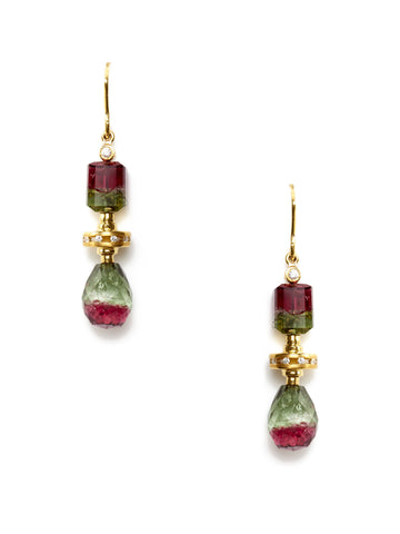 Diamond Bicolor Tourmaline Multi-Shape Drop Earrings