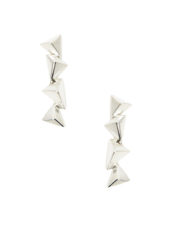 Silver Pyramid Drop Earring