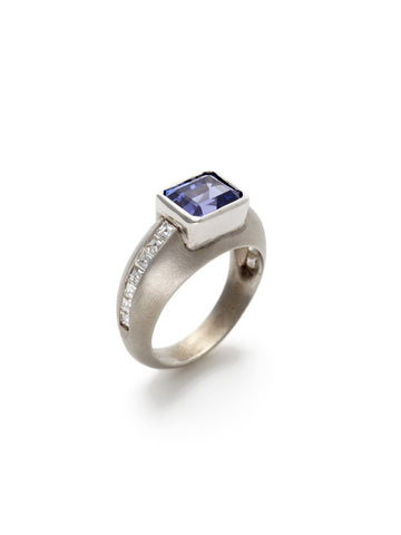 Emerald Cut Tanzanite Diamond Ring