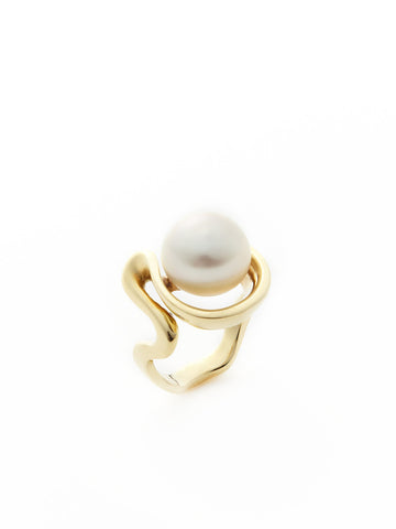 Gold Serpentine Pearl Ring