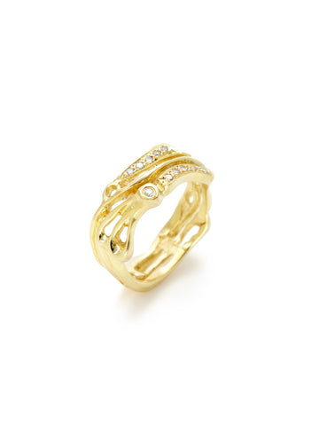 Gold Diamond Cutout Swirl Ring