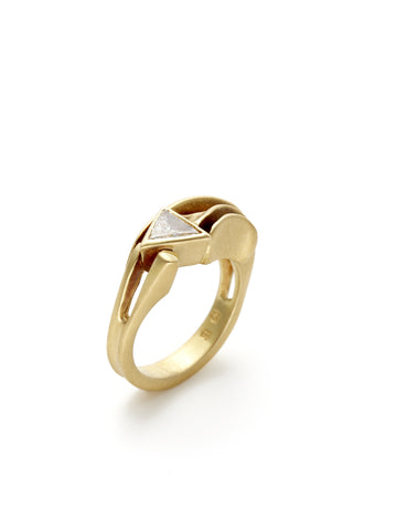 Gold Diamond Forged Arrow Ring