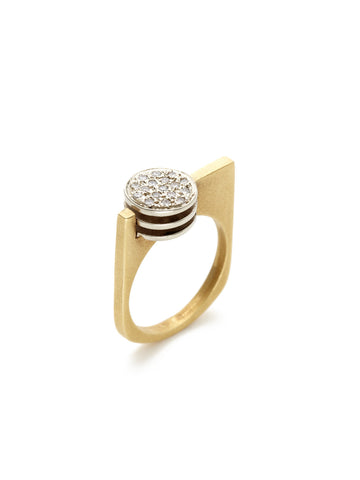 Guggen Two-Tone Diamond Geometric Ring