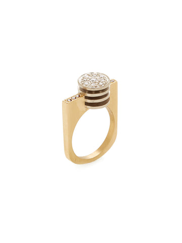 Layered Disc Brown White Diamond Ring