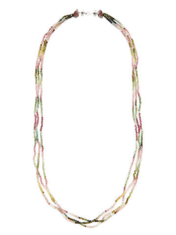 Multicolor Tourmaline Diamond Station Necklace