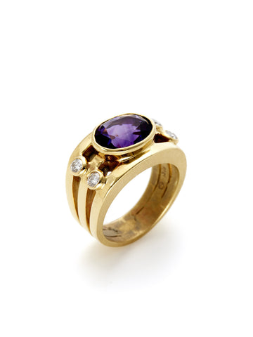 Oval Amethyst Diamond Multi-Band Ring