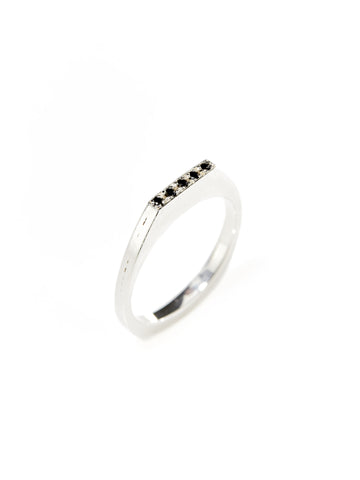 Silver Black Diamond Flat Top Ring