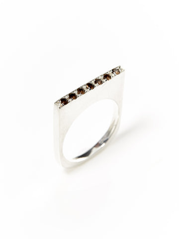 Silver Smoky Quartz Flat-Top Ring