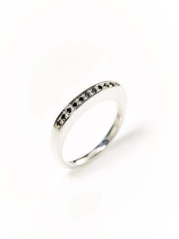 Silver Black Diamond Slab Ring