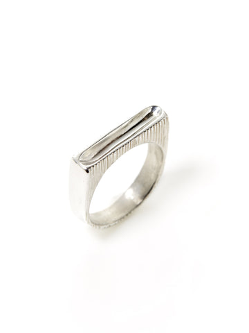 Silver Etched Square Scoop Ring