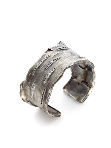 Black & White Diamond Bark Cuff Bracelet