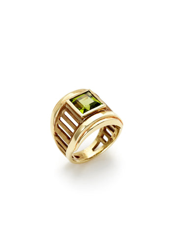 Peridot Gold Cutout Band Ring