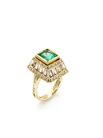 Emerald Reflecting Rods Ring