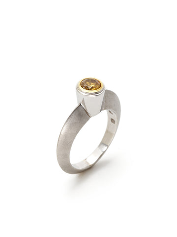 Canary Diamond Knife-Edge Ring