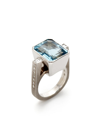 Emerald Cut Aquamarine Diamond Ring
