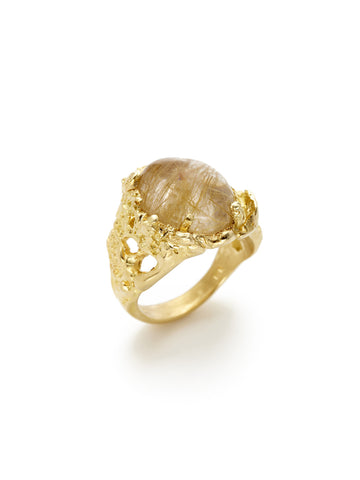 Organic Rutilated Quartz Ring