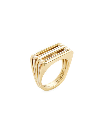 18K Yellow Gold Square Ring