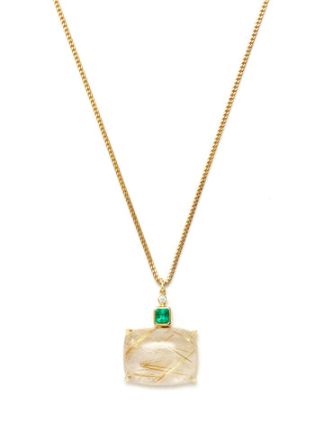 Rutilated Quartz Emerald Pendant Necklace