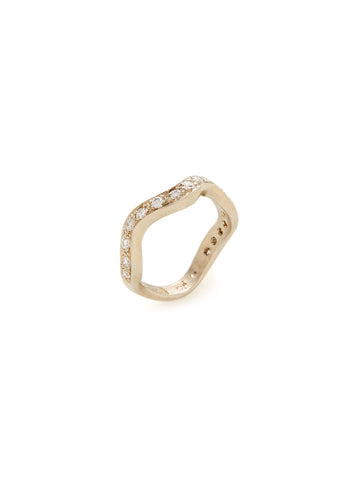 Waves Diamond 18K Yellow Gold Ring