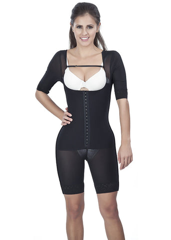 Girdle With Sleeves - Half Leg - 1603 - Black - Front View