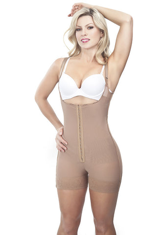 Thin Strap Short Girdle - Front View - Cocoa Nude
