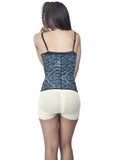 Blue Animal Print Latex Waist Trainer Back View