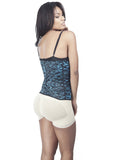 Blue Animal Print Latex Waist Trainer Side View
