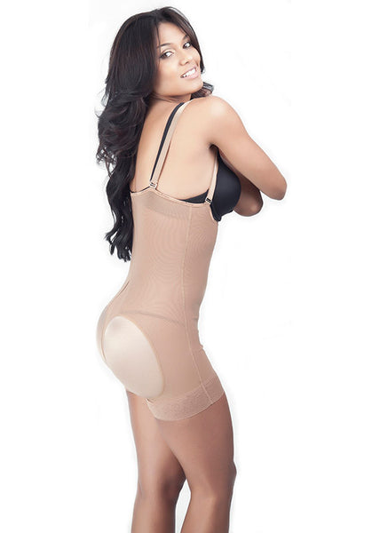 Strapless Short Girdle with Lycra buttock Covers - nude - side view - 1650