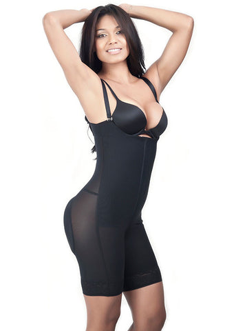 Strapless Girdle Lycra Buttocks Cover - Black -  Side View - 1649