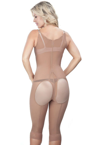 Thin strap long leg Girdle with Lycra buttock Covers - nude - back view - 1648
