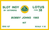 Lotus Type 38 Kit Unpainted - Bobby Johns 1965