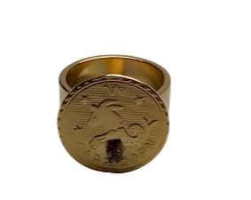 Capricorn ring in gold plated and swarovski crystal