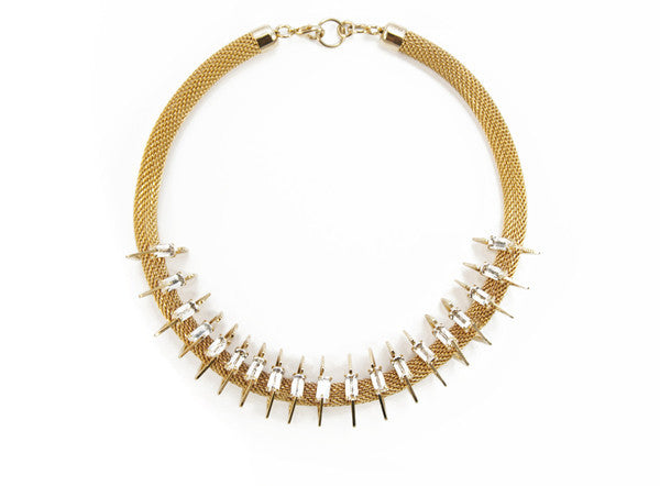 14 kt plated mesh necklace with clear swarovski crystals.
