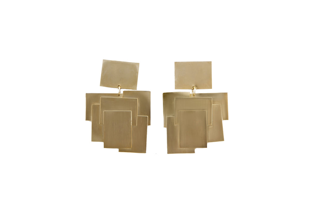 14 kt plated gold earrings with layered squares