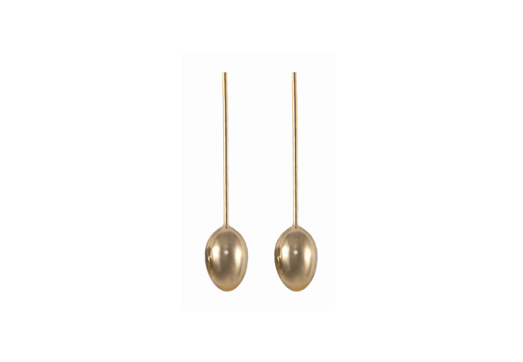 14 kt plated gold earrings with balls on end