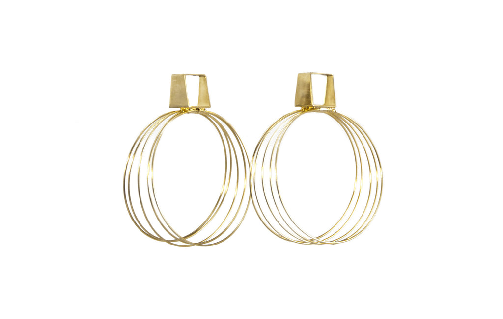 14 kt plated gold multi hoop earrings