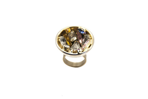 14 kt plated sphere ring with different colored swarovksi colors-