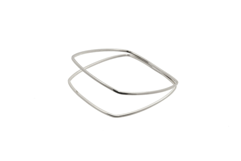 Silver plated 2 tier square bangle