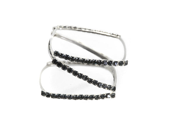 silver plated statement bangle with gray swarovski crystal