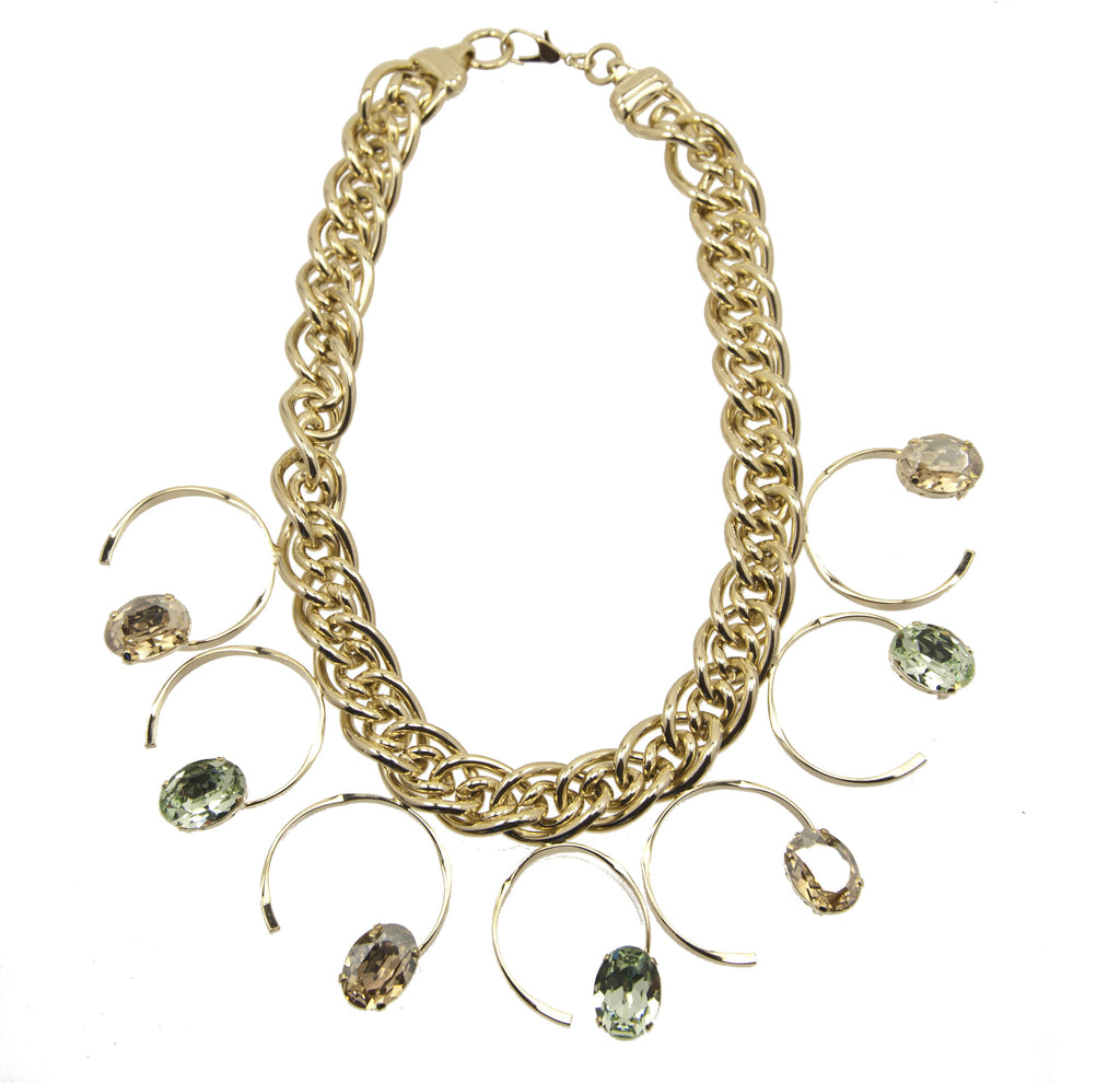 14 kt plated gold necklace with green adn nude colored swarovski crystals