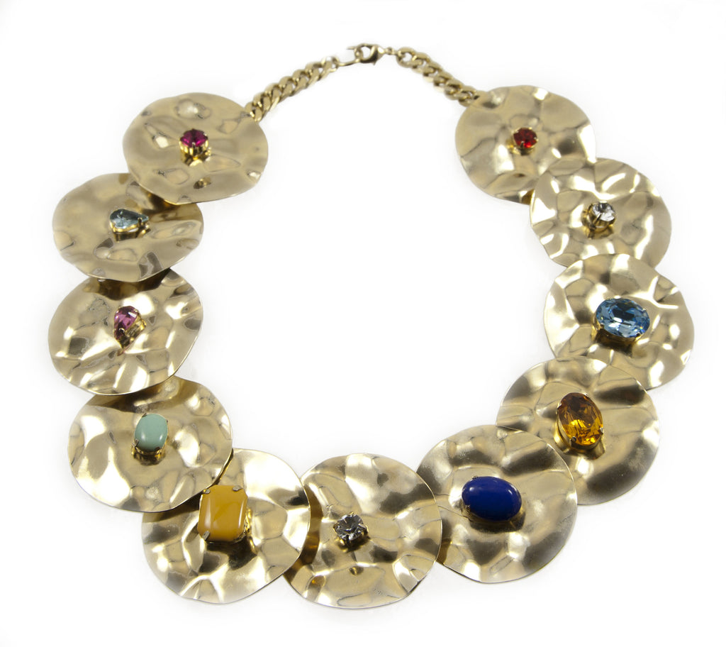 14 kt plated gold necklace with assorted swarovski colors and shapes