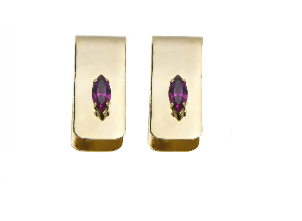 14 kt plated gold fold over earrings with pink swarovski crystal