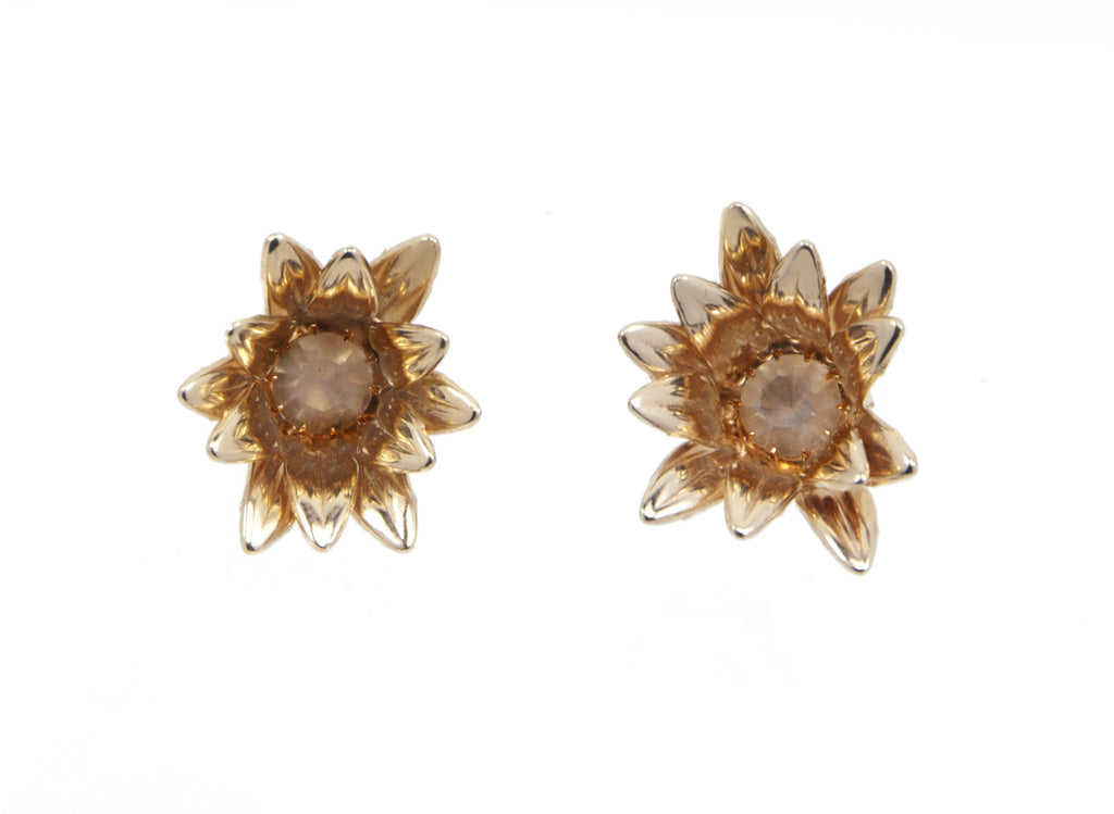 rose gold flower earrings with clear swarovski in center